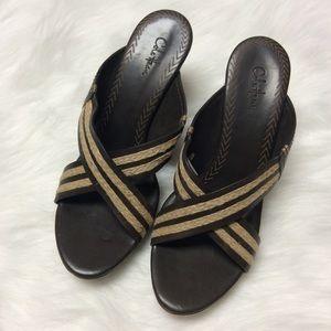 SZ 10 COLE HAAN Leather Platform Mule Sandals